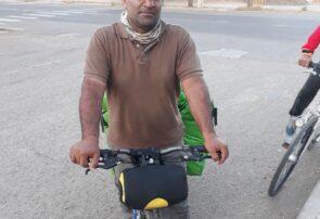 دوچرخه سوار شیرازی، در مراسم شهادت امام رضا (ع) شرکت کرد